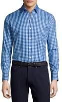 Peter Millar Crown High Latitude Gingham Cotton Shirt, Blue