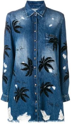 Philipp Plein Embellished Palm Tree Denim Shirt