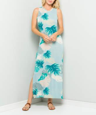 Acting Pro Women's Maxi Dresses Mint - Mint Tropical Leaf Fitted Side-Slit Maxi Dress - Women & Plus