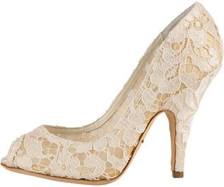 Dolce & Gabbana White Floral Lace Peep Toe Pumps Size 36.5