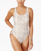 Carmen Marc Valvo Metallic Zip-Side One-Piece Swimsuit