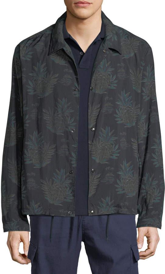 Vince Men's Coaches Tropical-Print Nylon Jacket