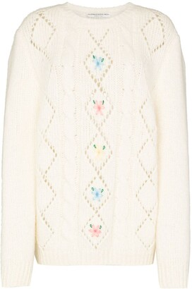 Alessandra Rich Floral-Embroidered Fine-Knit Jumper