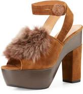 Alexa Wagner Gretchen Fur Ankle-Wrap Sandal, Brown