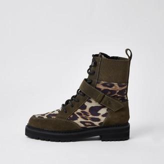 River Island Womens Brown leopard print chunky biker boots