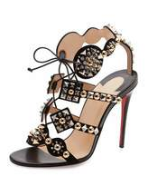 Christian Louboutin Kaleikita Spiked Lace-Up 100mm Red Sole Sandal, Version Black