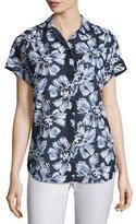 Lafayette 148 New York Irina Short-Sleeve Floral-Print Blouse, Plus Size, Multi