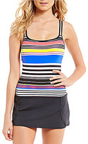Jag Reactive Stripe Double Strap Skirted One-Piece