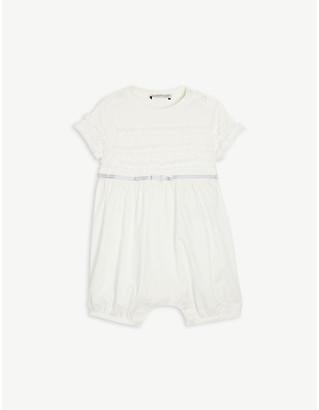 Moncler Frilled cotton-blend babygrow 3-24 months