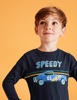 Marks and Spencer Pure Cotton Speedy Car Slogan Top (2-7 Yrs)