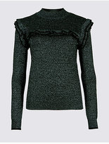 M&S Collection Ruffle Yoke Lurex Turtle Neck Jumper