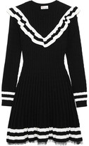 RED Valentino Point D'esprit-trimmed Ruffled Cable-knit Cotton Mini Dress - Black