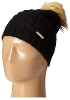 MICHAEL Michael Kors Cable Patchwork Beanie with Faux Fur Pom