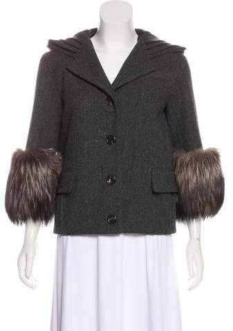 Marc Jacobs Fur Trim Wool Blend Coat