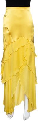 Roberto Cavalli Canary Yellow Silk Ruffle Tiered Skirt L