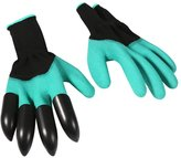 Yosoo 1 Pair Garden Gloves Digging Planting Pruning Roses Gardening Gloves Right Hand Glove With 4 Plastic Claws