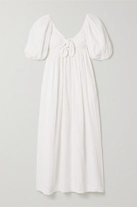 Mara Hoffman Violet Crinkled Organic Cotton-gauze Maxi Dress - White