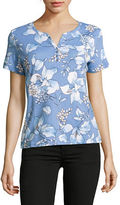 Karen Scott Petite Tuscan Elegance Henley T-Shirt