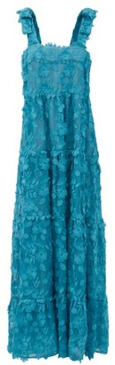 Dodo Bar Or Lima Floral-applique Cotton-voile Maxi Dress - Blue