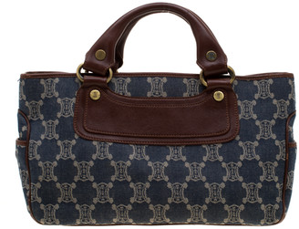 Celine Blue/Brown Macadam Denim and Leather Boogie Tote