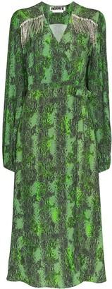 Rotate by Birger Christensen Kira crystal fringe wrap dress