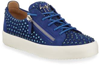 Giuseppe Zanotti Men's Crystal-Embellished Suede Double-Zip Sneakers