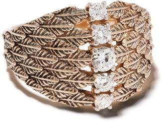Kismet by Milka 14kt Rose Gold Leaf Diamond Embellished Cocktail Ring