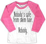 Micro Me White & Pink 'Nobody's Safe From Swim Hair' Raglan Tee - Toddler & Girls