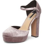 Dorothy Perkins Womens Mauve 'Grace' Velvet Platform Shoes- Purple