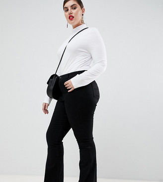 ASOS DESIGN Curve bell flare jeans in clean black with pressed crease