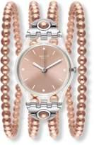 Swatch Women's Prohibition 25mm Rose -Tone Plastic Band & Case Swiss Quartz Pink Dial Watch LK354