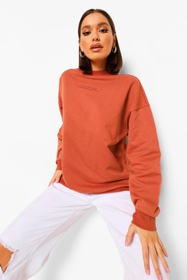 boohoo Oversized Embossed Official Crew Neck Sweater