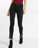Express mid rise black lace ankle legging