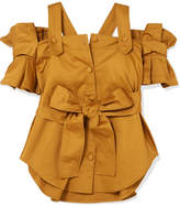 Silvia Tcherassi - Giuliani Cold-shoulder Belted Ruffled Cotton-blend Top - Mustard