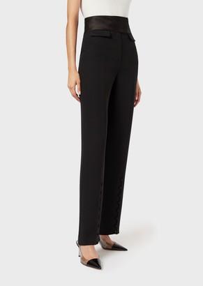 Giorgio Armani Roomy Silk Trousers With Satin Waistband