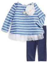 Infant Girl's Pippa & Julie Stripe Top, Peplum Tank & Leggings Set