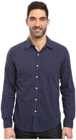 U.S. Polo Assn. Long Sleeve Slim Fit Brushed Heather Stripe Twill Straight Point Collar Sport Shirt