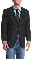 Kiton Cashmere Plaid Sport Coat, Olive