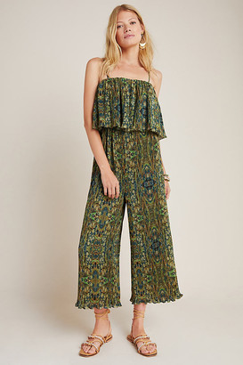 Suzanne Pleated Wide-Leg Jumpsuit By Rdalamal in Green Size XS