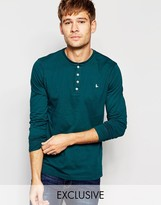 Jack Wills Henley T-Shirt With Long Sleeves in Forest Green Exclusive