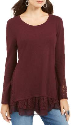 Style&Co. Style & Co. Petite Lace-Trimmed Cotton-Blend Top