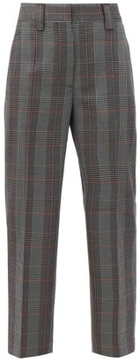 Acne Studios Wool-blend Houndstooth Cropped Trousers - Blue Multi