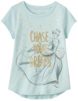 "Disney's Cinderella Girls 4-10 ""Chase Your Dreams"" Shirttail Tee"