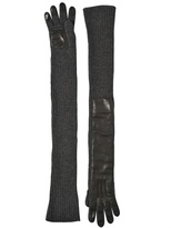 Rochas Nappa Leather & Wool Knit Long Gloves