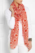 Stella McCartney Heart-print cotton and modal-blend scarf