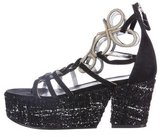 Chanel Tweed-Embellished Platform Sandals