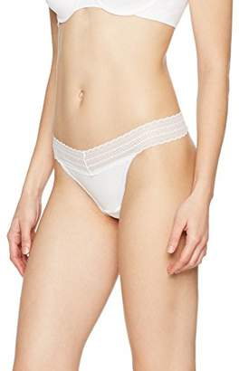 Iris & Lilly Women's Thong Cotton with Embroidered Lace Trim, Pack of 3,X-Large