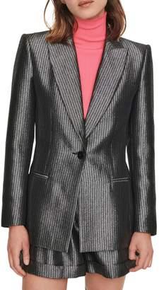 Maje Valery Lure Metallic Stripe Blazer