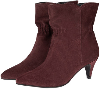 Monsoon Ruched Suede Ankle Boots Brown