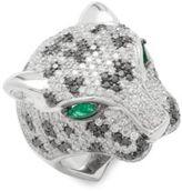 Effy Emerald, White Diamond, Black Diamond & 14K White Gold Ring